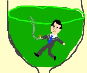 Don Draper swiming in green wine