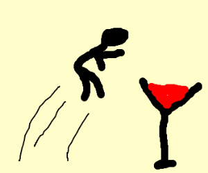 guy jumps up to where martini is