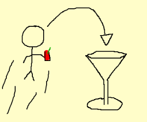man jumps in martini glass w/ blood mary
