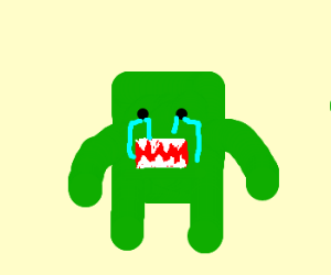 Green, crying Domo-kun ='(