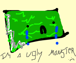 Sad green, square monster crying!
