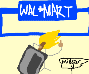 Cloud Strife flips off Wal-Mart