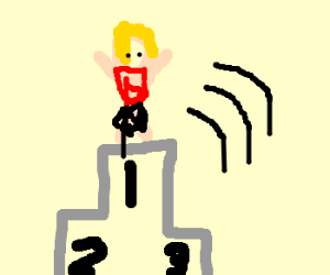 Person jumps to 1st Platform on Podium.