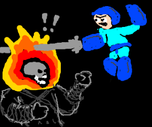 megaman trying to kill ghostrider