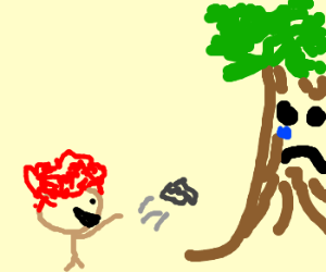 Ginger hurts tree by throwing rock