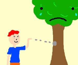 Ginger throws rock at a sad tree