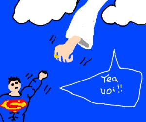 Superman fist-pumps God.