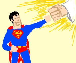 Superman fist-bumps God