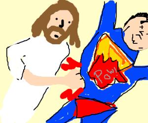 God punches superman