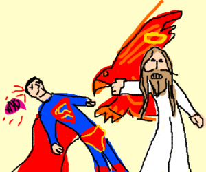 Jesus Falcon-punches Superman to death