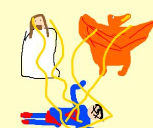 Jesus and a pheonix destroy Superman