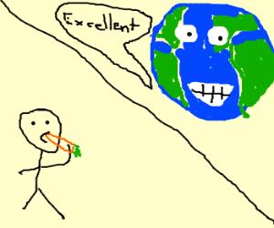 Man eats carrot. Earth is pleased.