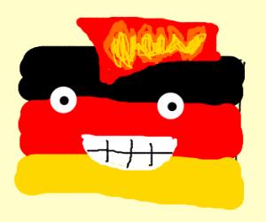 German Flag grows flame coloured mohawk