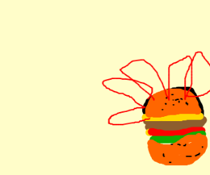 flaming cheeseburger