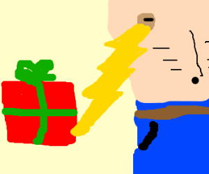 Present causes nipple to emit lightning