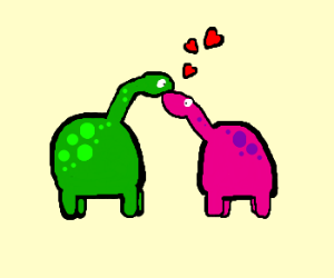 Two dinosaurs in love <3