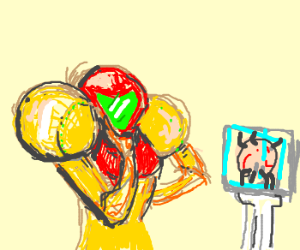 Samus admires statue of mother brain.