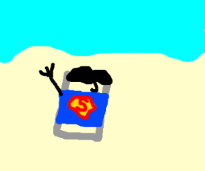 Superman as can of food reaching for sky