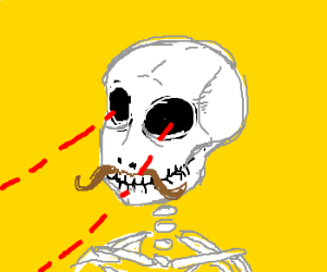 skeleton with moustache has laser sight