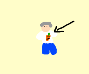 Old man wears belly shirt with a carrot