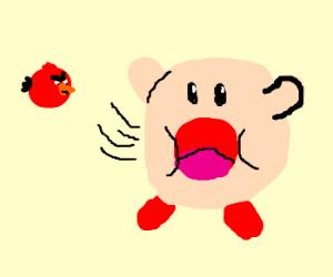 Kirby Inhales An Angry Bird
