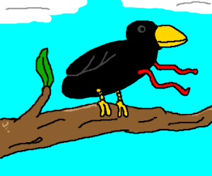 A bird with red tendrils