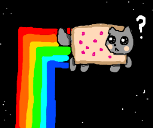Nyan Cat rainbow trail off by 90 degrees