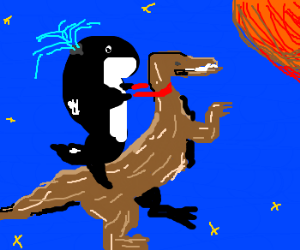 Whale riding a Velociraptor to mars