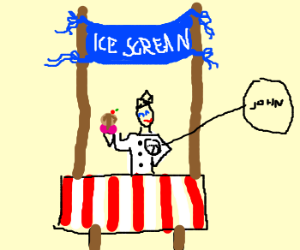 "John is selling ""icescrean"", I guess."