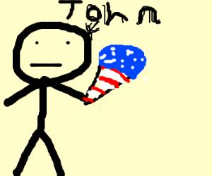 """John offers patriotic """"ice screan."""""""