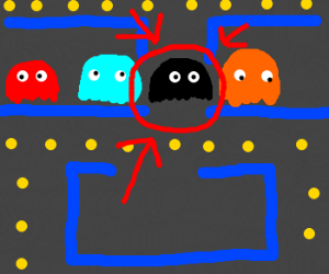 a black pacman ghost