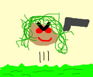 Medusa rises from grass and shows a gun