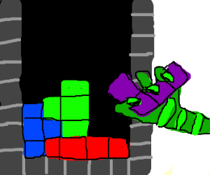 Gremlin steals Tetris block