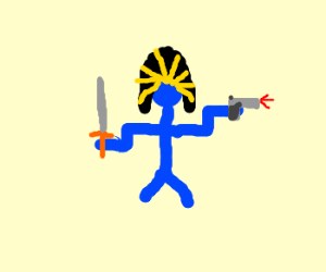 BluePharaoh man dualwields sword and gun