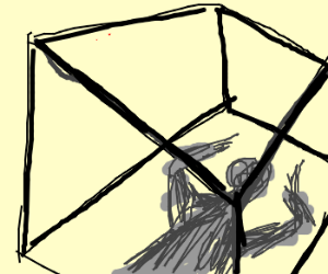 a wierd shadow man trapped in a box