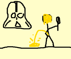 Darth Vader's son holds a whisk and pees