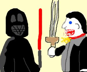 Darth Vader fights Dracula.