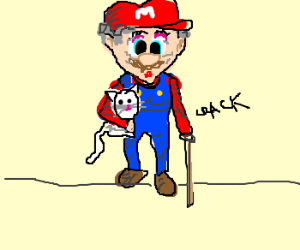 Mario's grandma takes his place.