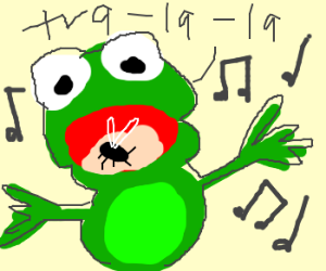 a frog singing and eating a fly