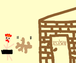 Naked Ginger gets locked outside