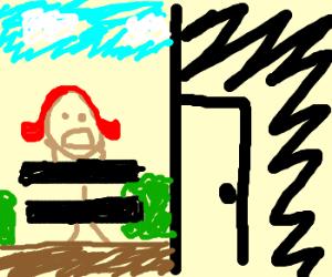 Girl stuck naked outside