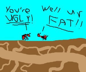 Red ants cursing one another