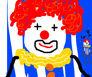 Clown with a defective tiny self clone