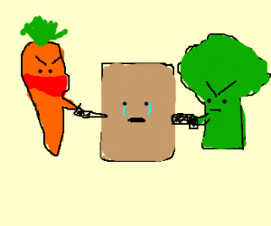 Angry vegetables mug a paper bag.