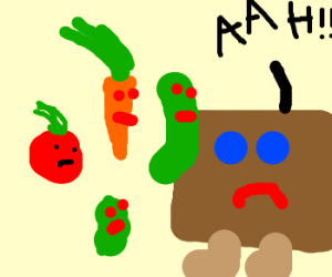 Vegetables attack sentient box with legs