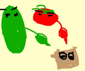 cuke + tomato conspiring against cracker