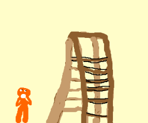 Miniature person amazed by step ladder