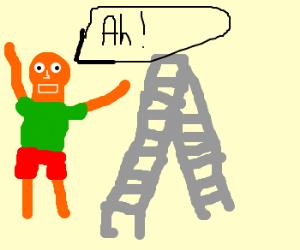 orange man screams at ladder
