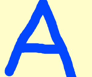 "Giant blue capital ""A"""