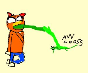 Crash Bandicoot spews on lizard